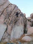 Rock Climbing Photo: Right about at the crux. Bottom was painted over, ...