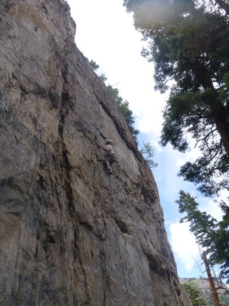 Rock Climbing Photo: Andrew onsighting the second ascent of Over-the-Mo...