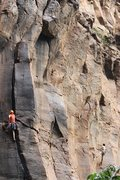 Rock Climbing Photo: past the crux and into the wide
