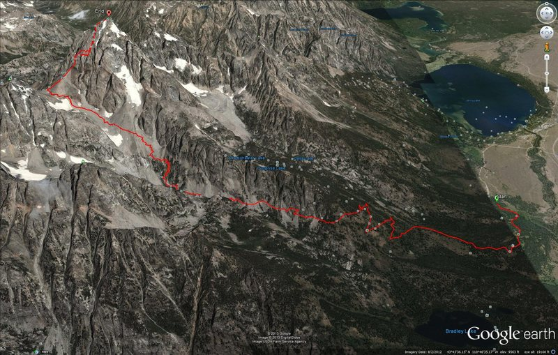 GPS track overlain on Google Maps.  See my comment for links to gpx and kml files.