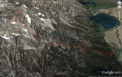 Rock Climbing Photo: GPS track overlain on Google Maps.  See my comment...