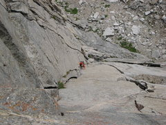 Rock Climbing Photo: Looking down pitch 2.  The obvious handcrack behin...