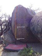 Rock Climbing Photo: Diamond Arete Boulder Topo
