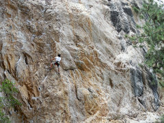 Rock Climbing Photo: Keoni flying through Highway Man on his way to the...