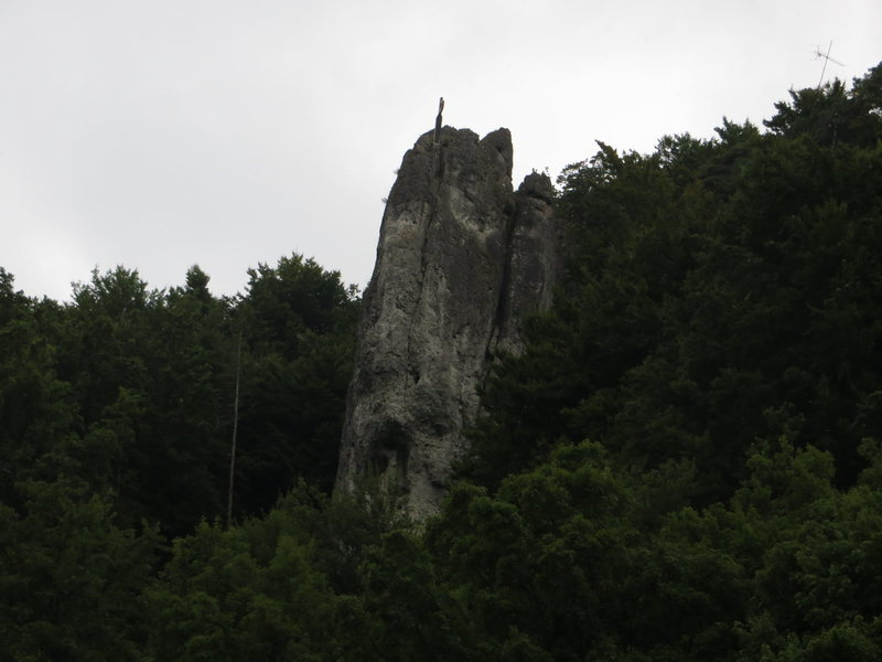 An evening shot of Zehnerstein taken from the parking lot.