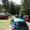 A view of the parking lot(s) for the soccer field. Behind me is the trail leading to the crag.