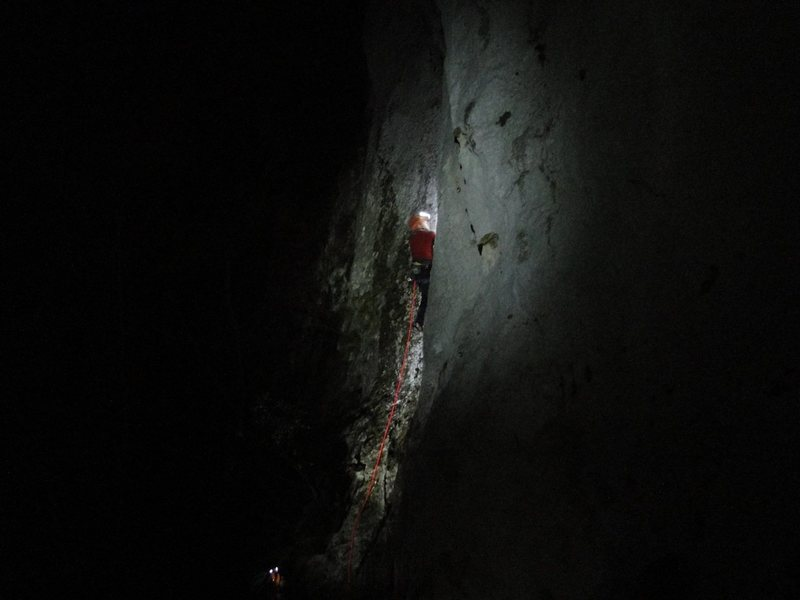Rock Climbing Photo: Night climbing on Mario Valentini