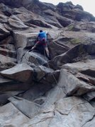 "Rock Climbing Photo: Just through 1st crux on ""Open Space Cowboy&q..."