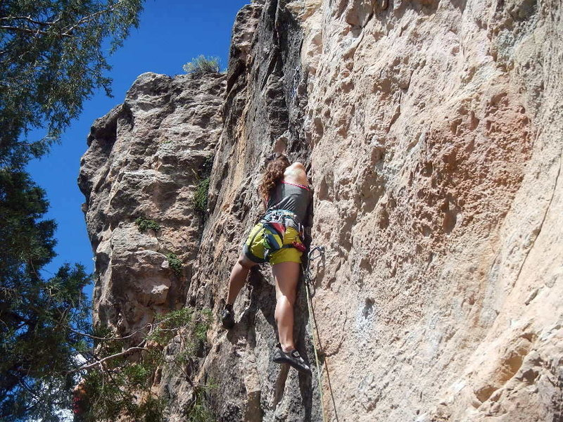 Rock Climbing Photo: Moving to the third bolt
