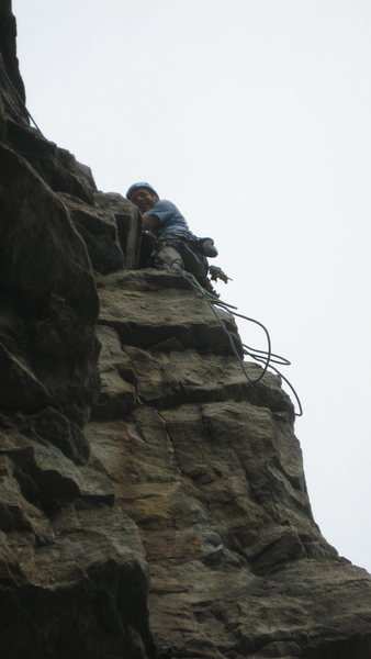JH at the belay ledge<br>