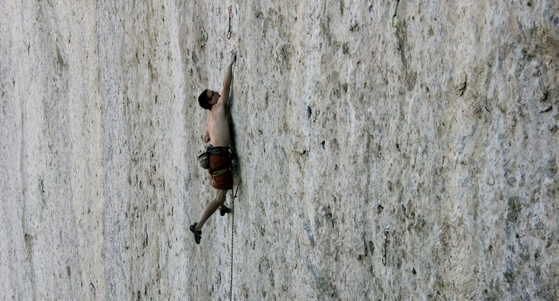 Rock Climbing Photo: Seth Lytton in the meat of Bushido before taking d...