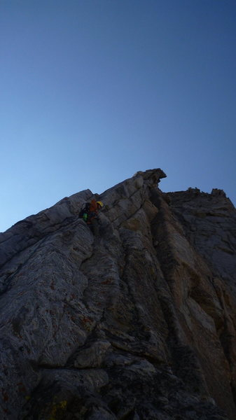 Rock Climbing Photo: Fuzzy leading up the 6th pitch.  One of the best o...