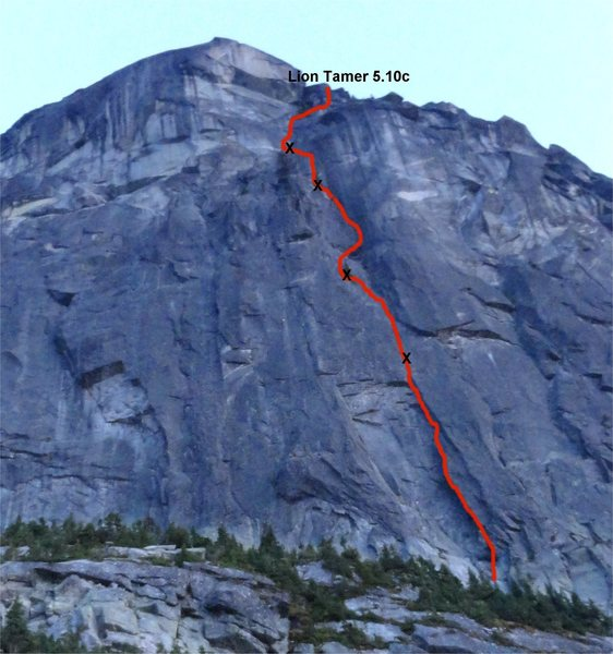 Rock Climbing Photo: Lion Tamer 5.10c with belay stations marked by x's