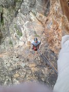 Rock Climbing Photo: Grover Price enjoying the airy belay at last pitch...