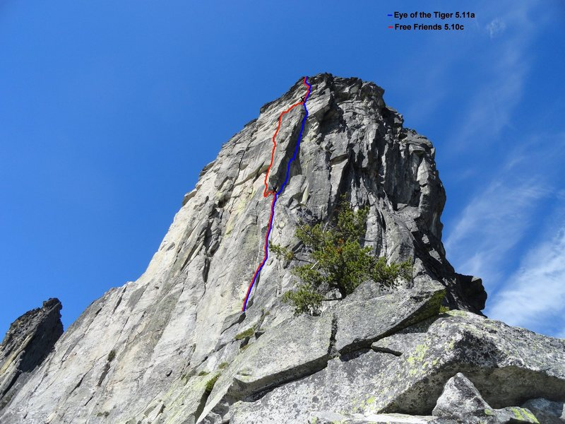 Eye of the Tiger 5.11a with belay ledges.  The crux is the right facing flake just above the small roof.
