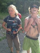 Rock Climbing Photo: Girl will drill for food.  Skinny guy will hurl hi...
