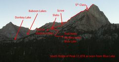 Rock Climbing Photo: The approach and climb of the South Ridge of Peak ...