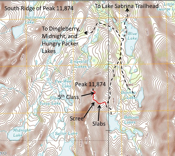 Topo of the South Ridge of Peak 11,874 including approach from Blue Lake.
