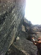 Rock Climbing Photo: Joe Lee Sizing up the overhang