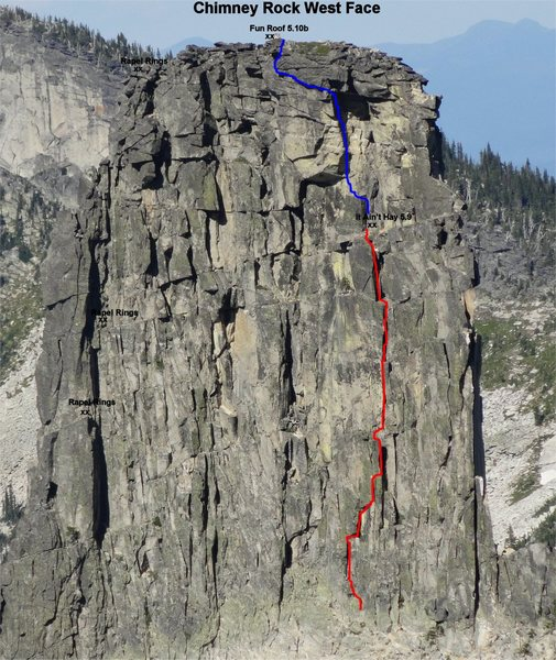 "West face of Chimney Rock.  Highlighted routes are ""It Ain't Hay"" in red, and ""Fun Roof"" in blue. Rapel rings are marked on the left side of the face."