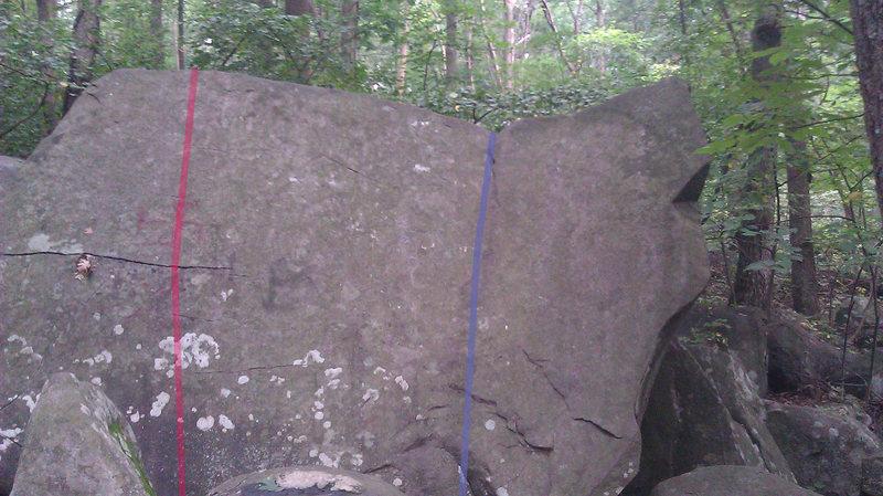 Rock Climbing Photo: Red - Fun Boulder Slab Blue - Open Book