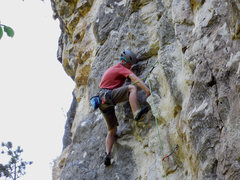 Rock Climbing Photo: Bridger warming up on Hucky Sucky 5.10 Bucky