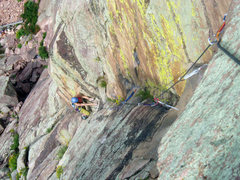 Rock Climbing Photo: A good shot down the pitch from the belay behind t...