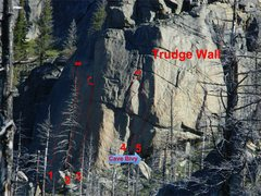 Rock Climbing Photo: Trudge Wall as seen from Value Village. (1) Red Ma...