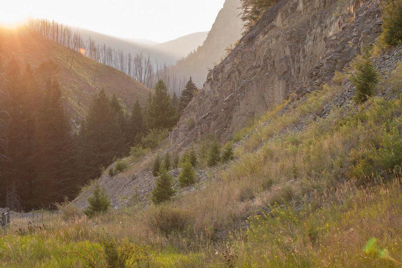 Sunset near Mill Creek crags.