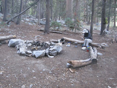 Rock Climbing Photo: Camp at Big Wet Meadow - Sara cleans after breakfa...