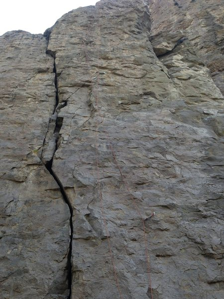 Rope is on Fork it Over.  Crack to the left is Butterknife.  The bottom bolt is the second bolt on the route.