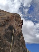 "Making one of my last 3 or 4 moves on ""Slingshot Arete"" on TR."