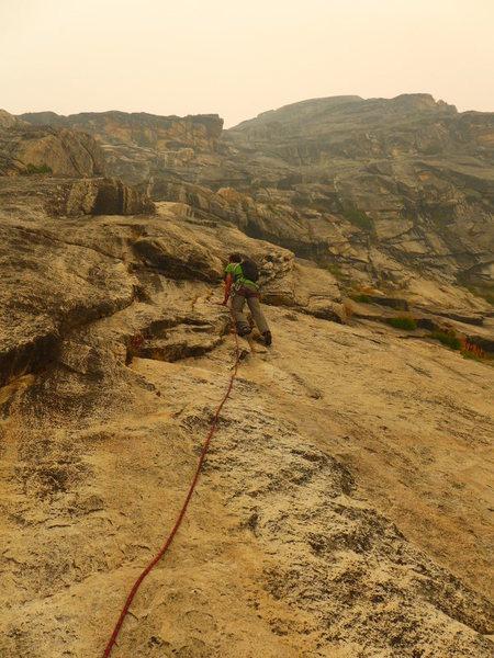 Rock Climbing Photo: Adam starting up P7