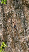 Rock Climbing Photo: Keith Beckley in the middle of Poetic Justice (5.1...
