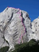 Rock Climbing Photo: The Coriolis Effect is in pink starting on the lef...