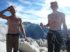 Rock Climbing Photo: Happy at the summit—Evan and Shawn FA