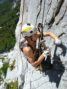 Rock Climbing Photo: Shawn Wright putting in a bolt on the beautiful fa...