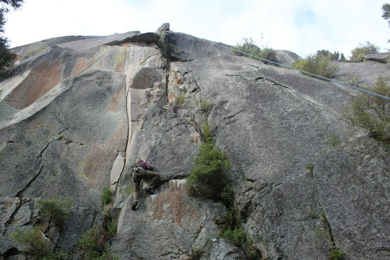 Climbing at a work in progress area in the Little Belts