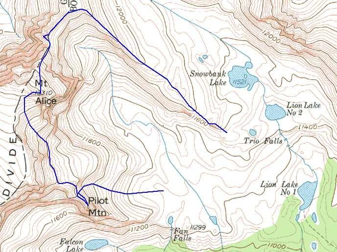 The route up the Hourglass Ridge, and including a descent that tags the summit of Pilot Mtn.