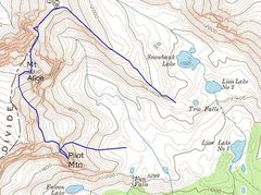 Rock Climbing Photo: The route up the Hourglass Ridge, and including a ...