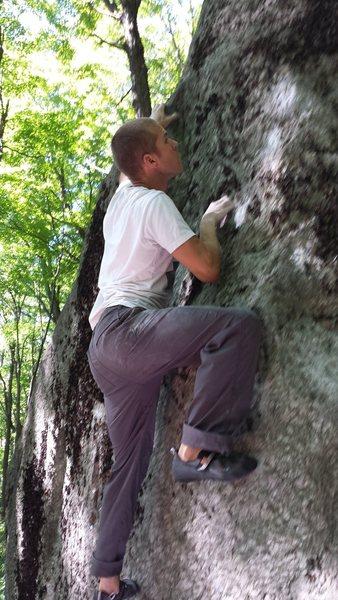 Rock Climbing Photo: Matt Sabourne high up on Cooper Trooper