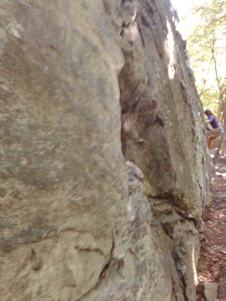 Rock Climbing Photo: Topher rocking the Main Wall traverse (not great p...