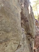 Rock Climbing Photo: Topher rocking the Main Wall traverse (not great p...