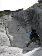 Rock Climbing Photo: pitch 1, stellar.  a tad runout with only a couple...