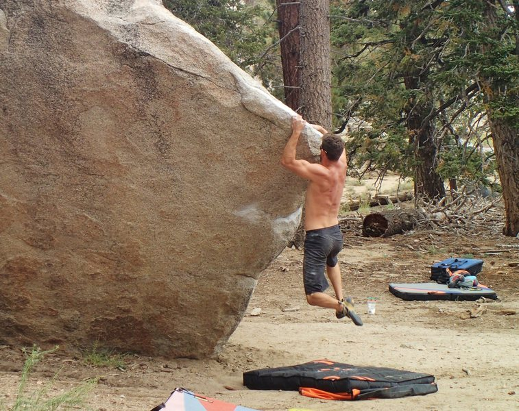 Rock Climbing Photo: Adam Gill working on his top put.