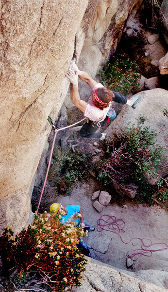 Rock Climbing Photo: Exciting and steep moves just past the first bolt....