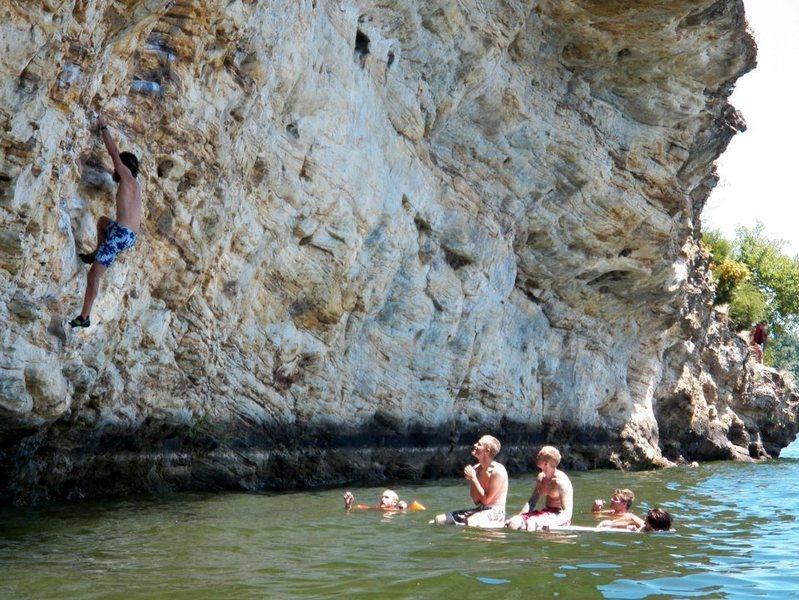 waiting to deep water solo at Lake Kinkaid summer 2012