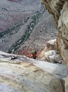 Rock Climbing Photo: looking down at the pitch after the chockstone....