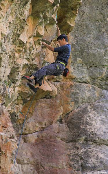 Ben on steep jugs. Genesis (5.12a).