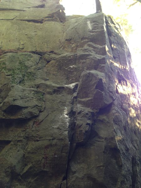 """""""Sunset Ascent""""  Four bolt route left around arete from Pine Tree Crack. It ends at the sling belay atop Pine Tree. Safe, 5.8 or 5.9ish, in the range of Pine Tree and PWB Arete. Please submit rating and quality feedback."""